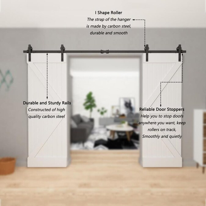 Clihome 10 Ft 120 In Black Steel Straight Strap Sliding Barn Door Track And Hardware Kit For Double Doors With Floor Guide In The Barn Door Hardware Department At Lowes Com