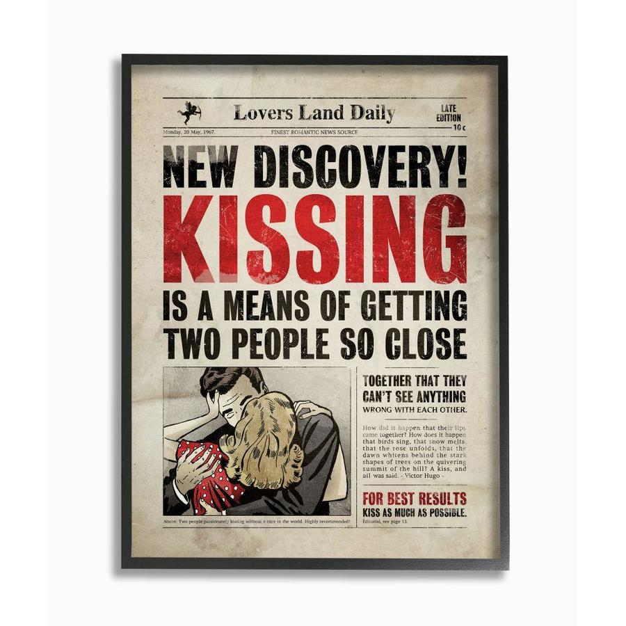 Stupell Industries Kissing Funny Newspaper Vintage Comic Book Design Framed 14 In H X 11 In W Vintage Retro Wood Print In The Wall Art Department At Lowes Com