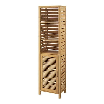 Linon Bracken Tall Cabinet 16 In W X 61 75 In H X 11 In D Natural Bamboo Bamboo Freestanding Linen Cabinet In The Linen Cabinets Department At Lowes Com