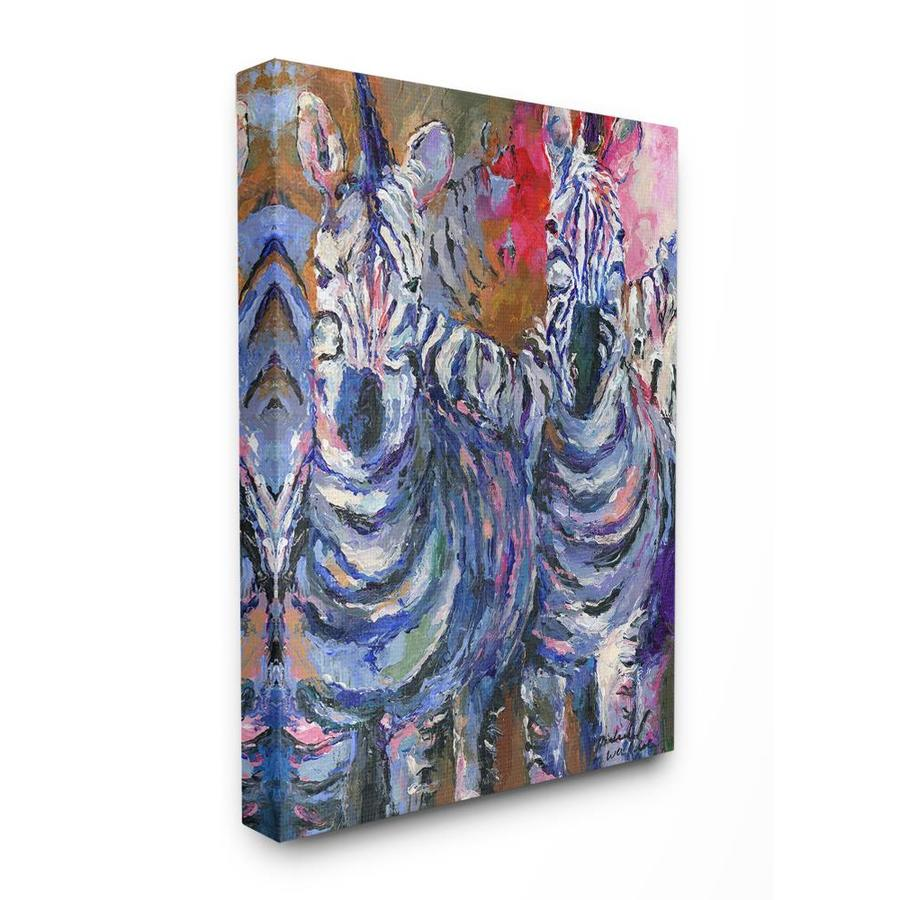 Stupell Industries Brightly Colored Rainbow Painted Zebra Herd Frameless 40 In H X 30 In W Vintage Retro Canvas Print In The Wall Art Department At Lowes Com
