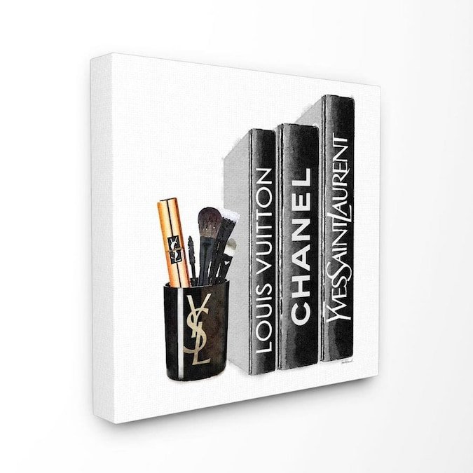 Stupell Industries Stupell Industries Fashion Designer Makeup Bookstack Black Watercolor Xl Stretched Canvas Wall Art By Amanda Greenwood 30 X 1 5 X 30 In The Wall Art Department At Lowes Com