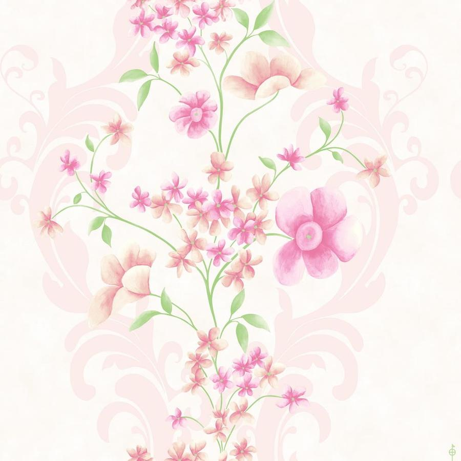 Wallpaper Designer Purple Lavender Cream Green Tan Floral Vine on Dark Gray