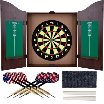Toy Time Toy Time Dartboard Cabinet Set- Self Healing Dart Game in Hanging Protective Case with Walnut Finish- 6 Steel Tip Darts
