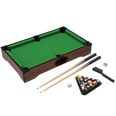 Toy Time Toy Time Tabletop Pool Set- Mini Billiard Set with Cues, Balls, Chalk and Rack