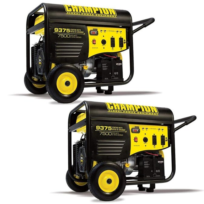 Champion Champion 7500 Watt Portable Electric Start Rv Ready Gasoline Generator 2 Pack In The Portable Generators Department At Lowes Com