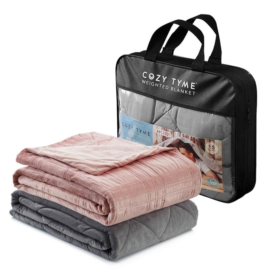 Cozy Tyme Ekon Blush 48 In X 72 In Cotton Weighted Blanket In The Blankets Throws Department At Lowes Com