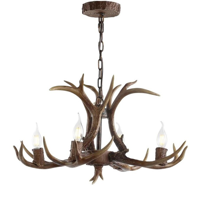 Jonathan Y 4 Light Brown Glam Antler Chandelier In The