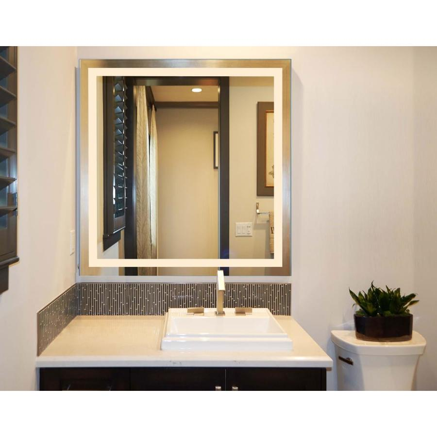 Innoci Usa Terra 40 In Lighted Led Square Frameless Bathroom Mirror In The Bathroom Mirrors Department At Lowes Com