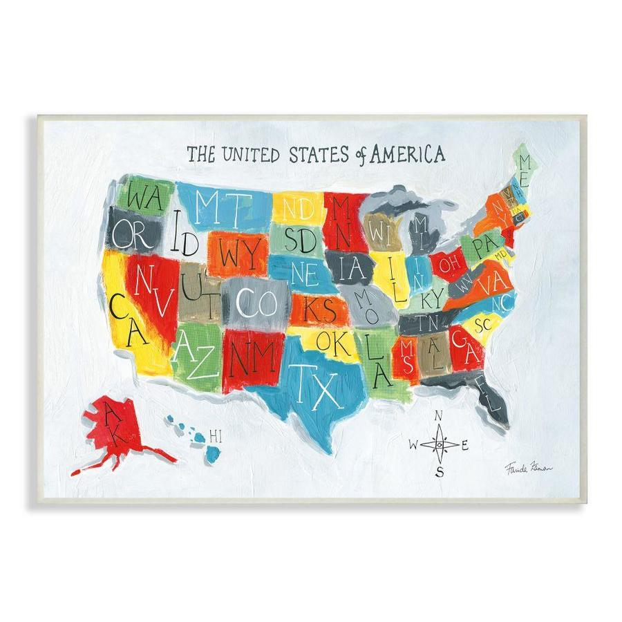 Stupell Industries Colorful World Map Of Usa Kids Nursery Painting Frameless 18 In H X 12 In W Kids Wood Print In The Wall Art Department At Lowes Com
