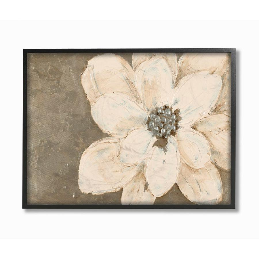 Stupell Industries Abstract Gold Silver Flower Collage Painting Framed 30 In H X 24 In W Abstract Wood Print In The Wall Art Department At Lowes Com
