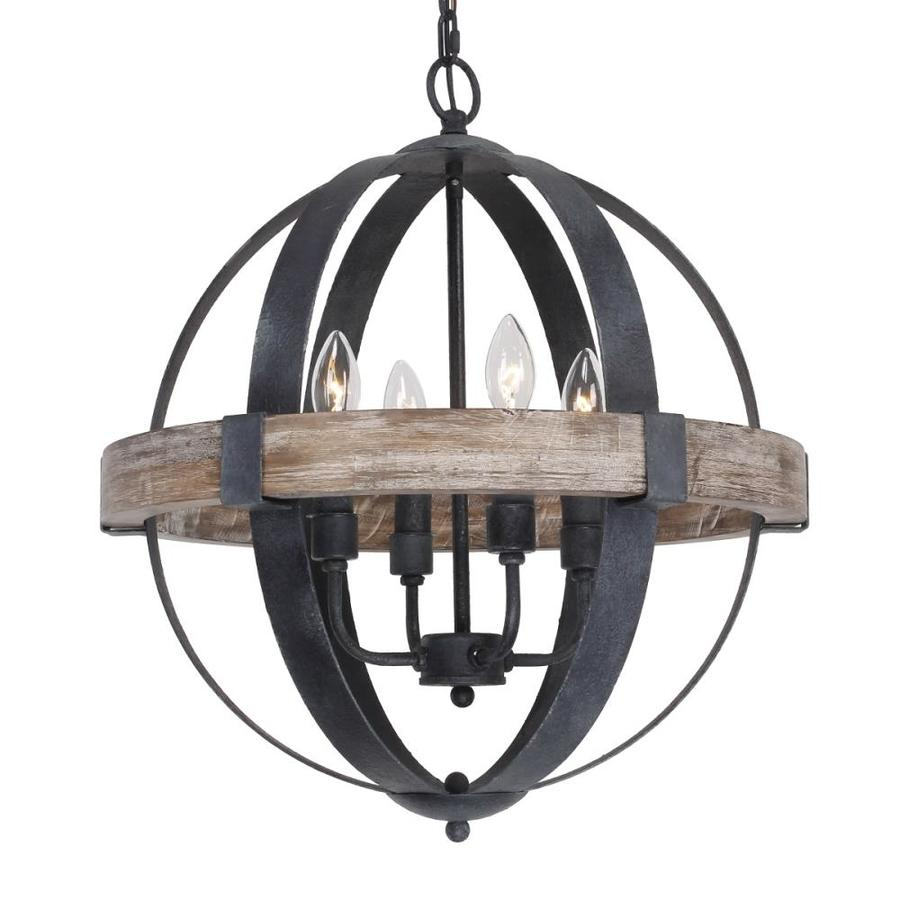 Parrot Uncle 4 Light Black Farmhouse Chandelier In The Chandeliers Department At Lowes Com