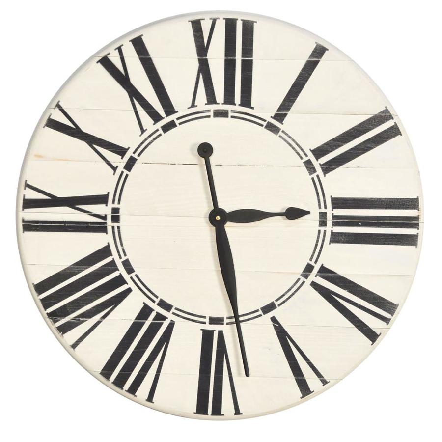 Brandtworks Oversized Antique White Farmhouse Wall Clock 36 Ft Ft X 36 Ft Ft In The Clocks Department At Lowes Com
