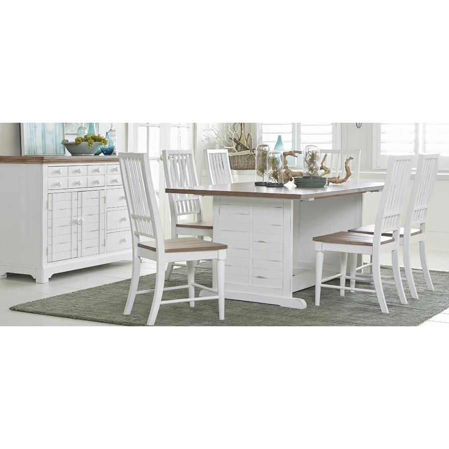 Progressive Furniture Shutters Light Oak And Distressed White Dining Table Wood Veneer With Distressed White Wood Base In The Dining Tables Department At Lowes Com