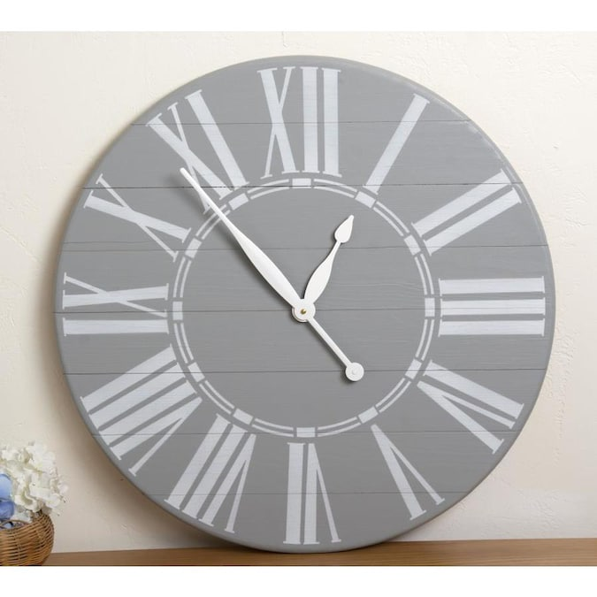Brandtworks Vintage Gray Farmhouse Wall Clock In The Clocks Department At Lowes Com