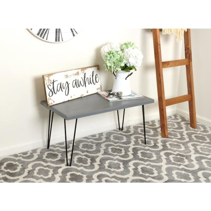 Brandtworks Hairpin Leg Wood Bench Midcentury Gray Accent Bench In The Indoor Benches Department