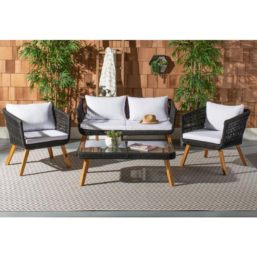 Safavieh Denridge 4 Piece Wood Frame Patio Conversation Set With Cushions In The Patio Conversation Sets Department At Lowes Com