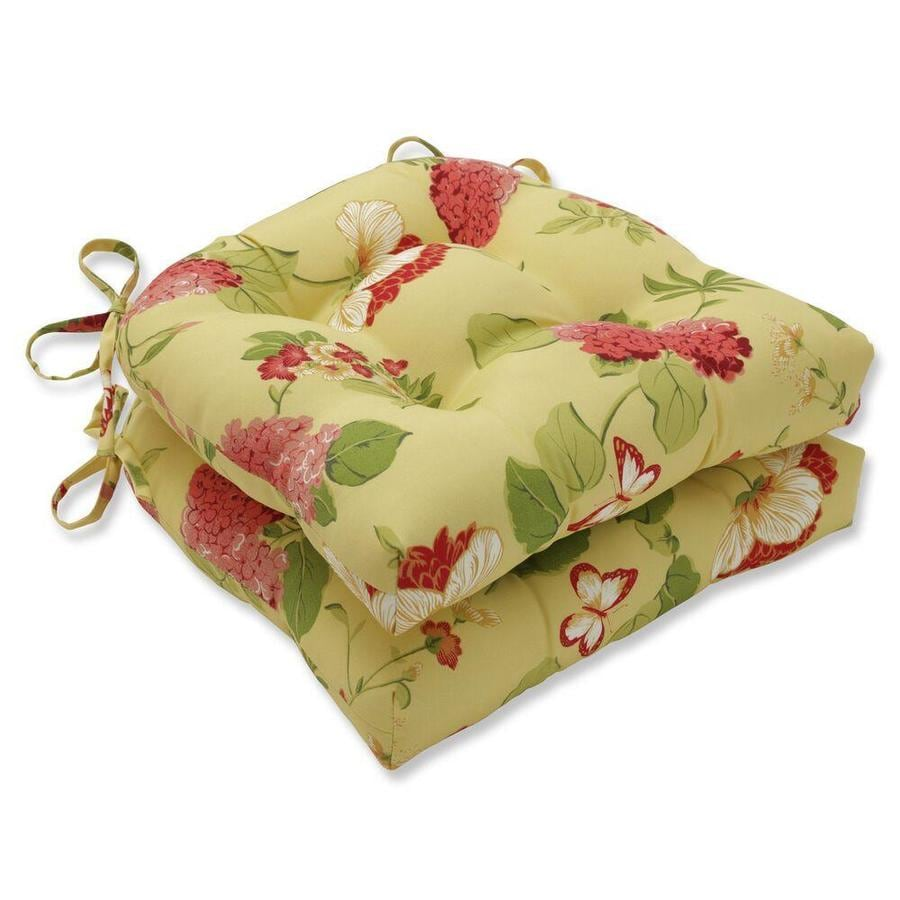 Pillow Perfect Risa Lemonade 2 Piece Yellow Patio Chair Cushion In The Patio Furniture Cushions Department At Lowes Com