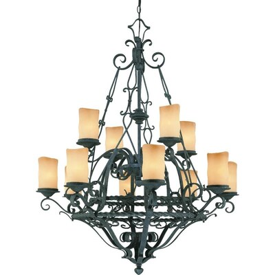 Volume Lighting Sevilla 12 Light Wrought Iron Traditional Chandelier In The Chandeliers Department At Lowes Com