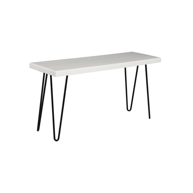 Brandtworks Hairpin Leg Wood Bench Midcentury White Accent Bench In The Indoor Benches