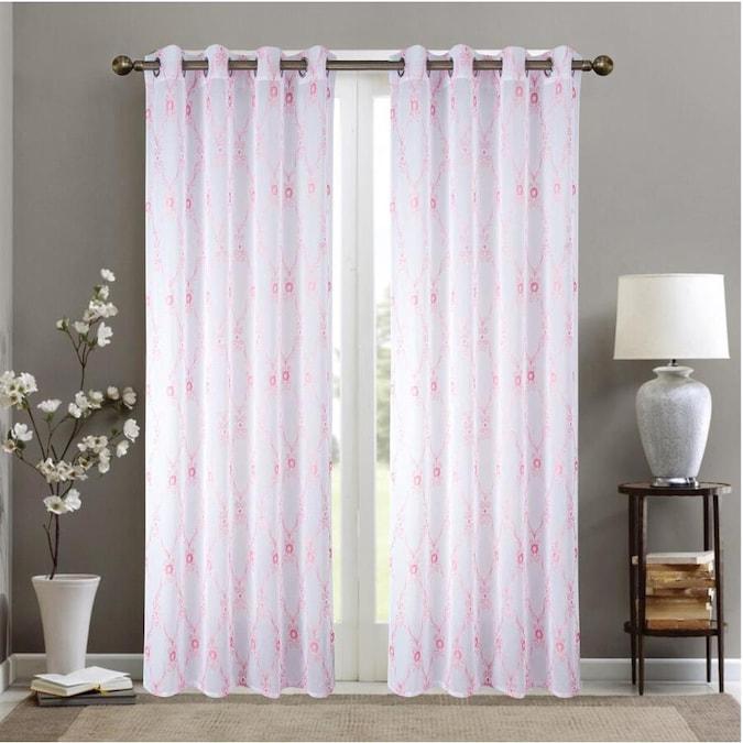 olivia gray 84 in blush white polyester light filtering grommet single curtain panel