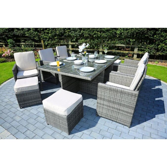 Direct Wicker Alana 11 Piece Brown Frame Patio Set With Beige Cushions In The Patio Dining Sets Department At Lowes Com