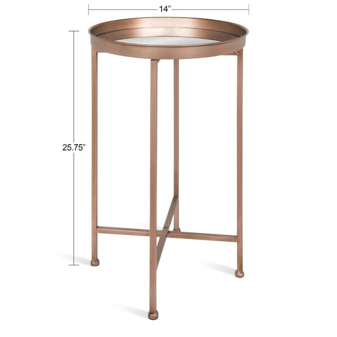 Kate And Laurel Celia Rose Gold Mirror Glass Round End Table In The End Tables Department At Lowes Com