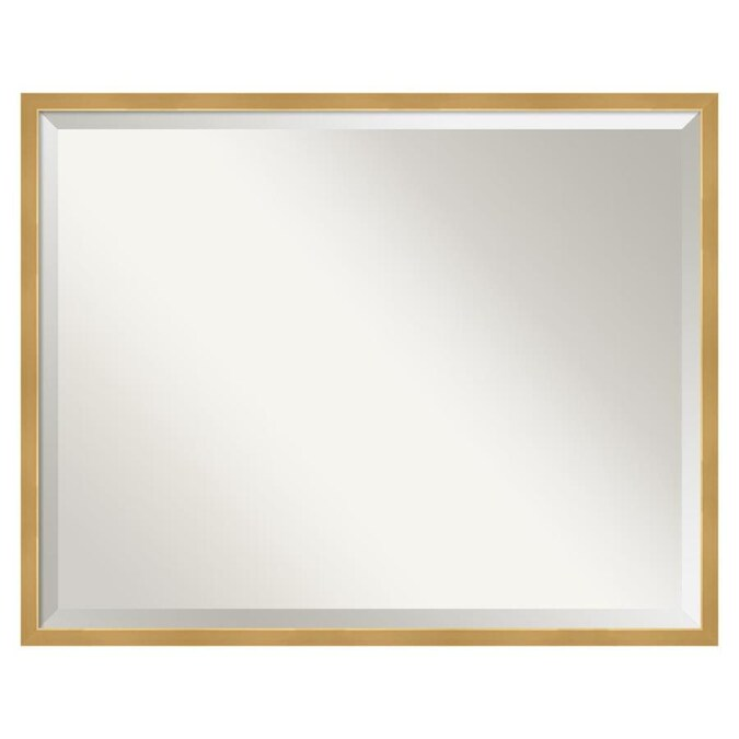 Amanti Art Polished Brass Gold Frame Collection 29 In Polished Brass Gold Rectangular Bathroom Mirror In The Bathroom Mirrors Department At Lowes Com