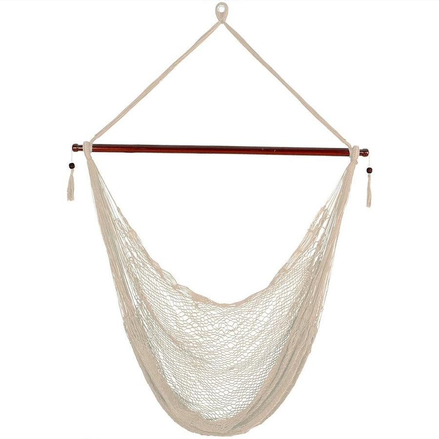 Sunnydaze Decor Cabo Extra Large Hanging Rope Hammock Chair Swing With Spreader Bar 360 Pound Weight Capacity Cream In The Hammocks Department At Lowes Com