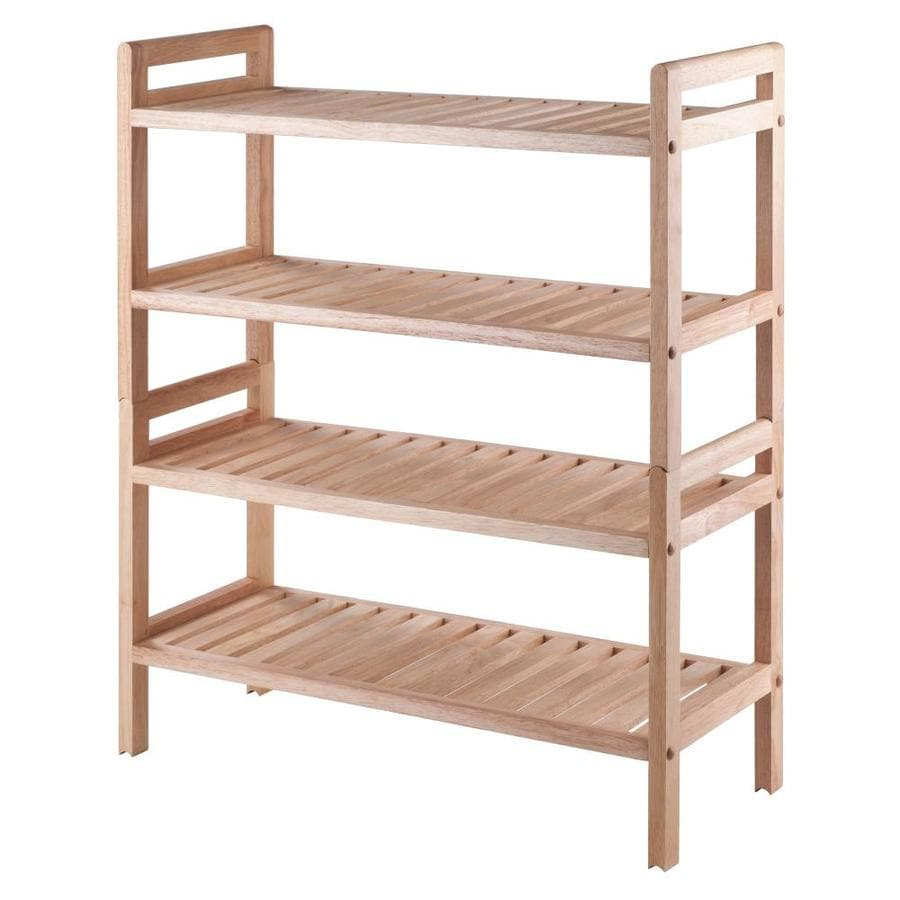 Winsome Wood 12 Pair Natural Wood Shoe Rack In The Shoe Storage Department At Lowes Com