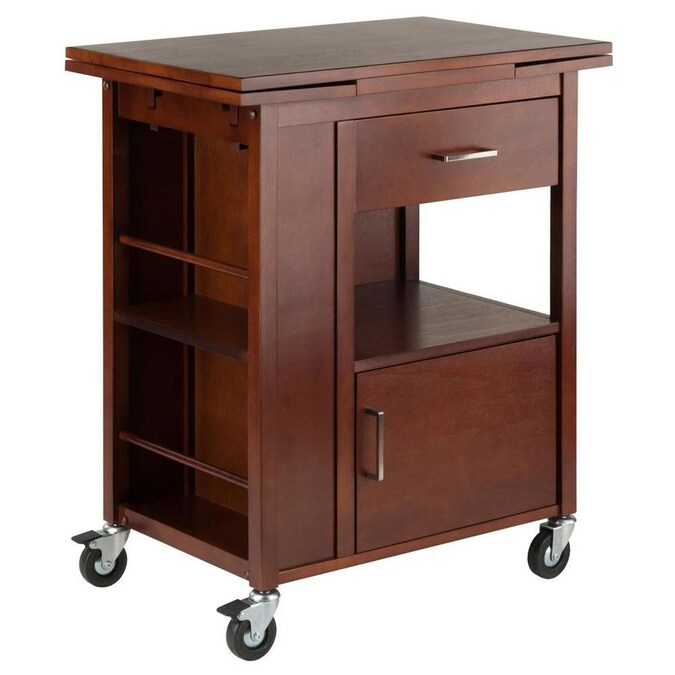 Winsome Wood Gregory Extendable Top Kitchen Cart Walnut Finish In The Kitchen Islands Carts Department At Lowes Com