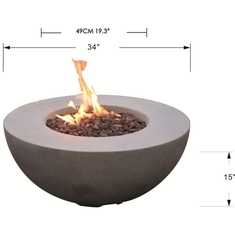 Elementi Modeno Roca Outdoor Fire Pit Propane Table 34 In Round Firepit Table Concrete High Floor Clearance Patio Heater Electronic Ignition Backyard Fireplace Cover Lava Rock Included In The Gas Fire Pit