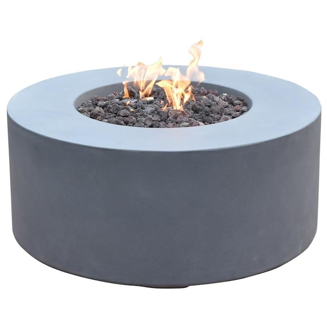 Elementi Venice 34 In W 50000 Btu Grey Concrete Natural Gas Fire Pit The Pits Department At Lowes