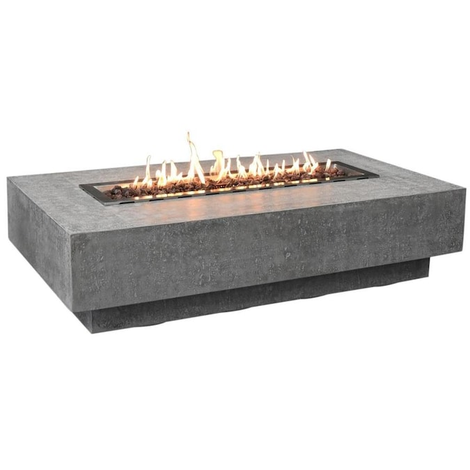 Elementi Hampton 32 In W 45000 Btu Grey Concrete Tabletop Natural Gas Fire Pit The Pits Department At Lowes