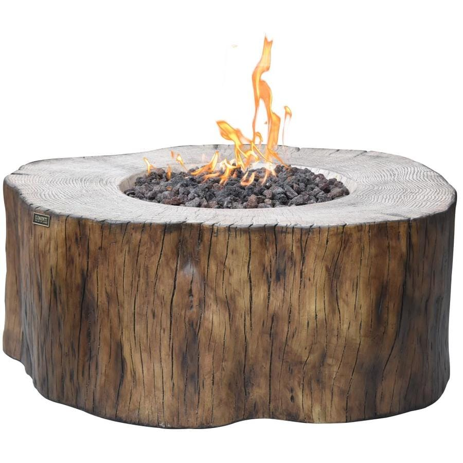 Elementi Manchester 39 In W 45000 Btu Red Wood Concrete Natural Gas Fire Pit The Pits Department At Lowes