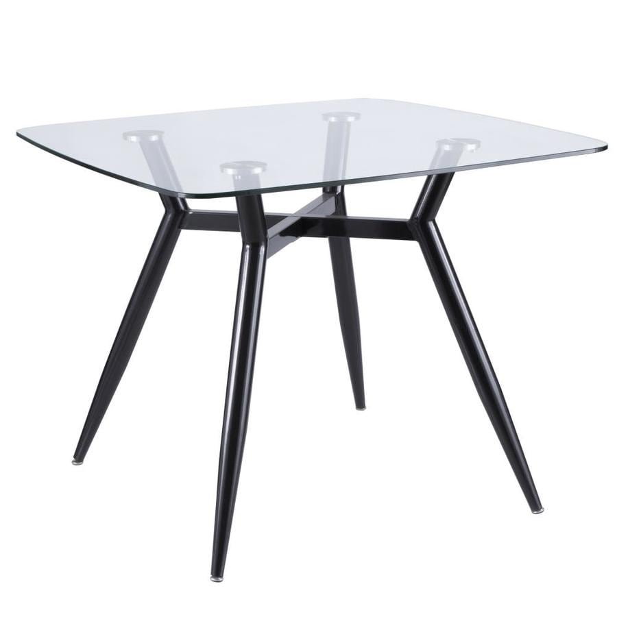 Lumisource Clara Black Glass Dining Table Tempered Glass With Black Metal Metal Base In The Dining Tables Department At Lowes Com