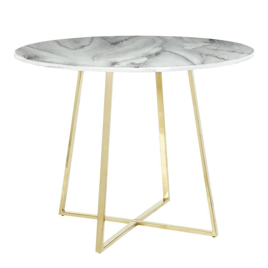 Lumisource Cosmo Gold Metal White Marble Round Dining Table Marble With Gold Metal Metal Base In The Dining Tables Department At Lowes Com
