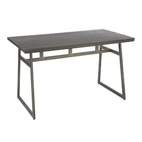 Lumisource Geo Black Metal Brown Bamboo Dining Table Wood With Black Metal Metal Base In The Dining Tables Department At Lowes Com