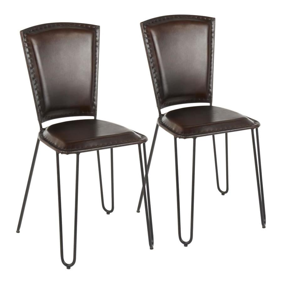 Lumisource Set Of 2 Ali Genuine Leather Upholstered Dining Side Chair Metal Frame In The Dining Chairs Department At Lowes Com