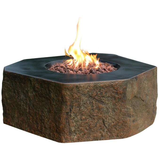 Elementi Elementi Columbia Outdoor Gas Firepit Table 42 In Natural Gas Fire Pit Patio Heater Concrete High Floor Clearance Firepits Outside Electronic Ignition Backyard Fireplace Cover Lava Rock Included In The Gas