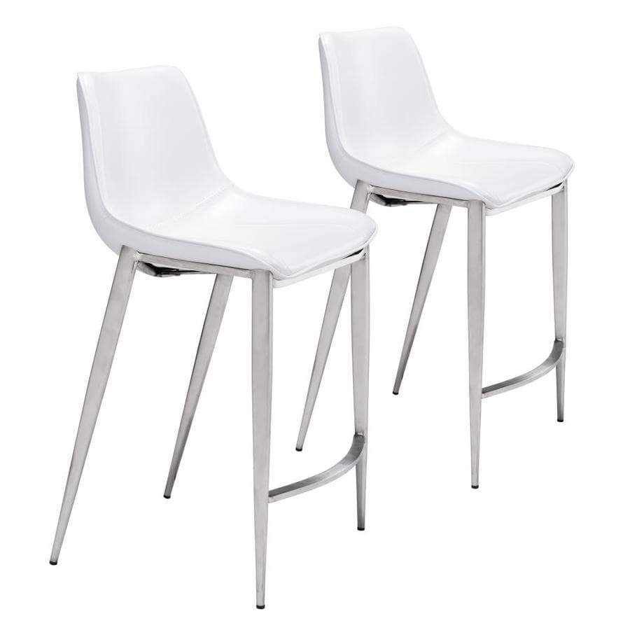 Zuo Modern Magnus White And Brushed Stainless Steel Counter Height Upholstered Bar Stool In The Bar Stools Department At Lowes Com