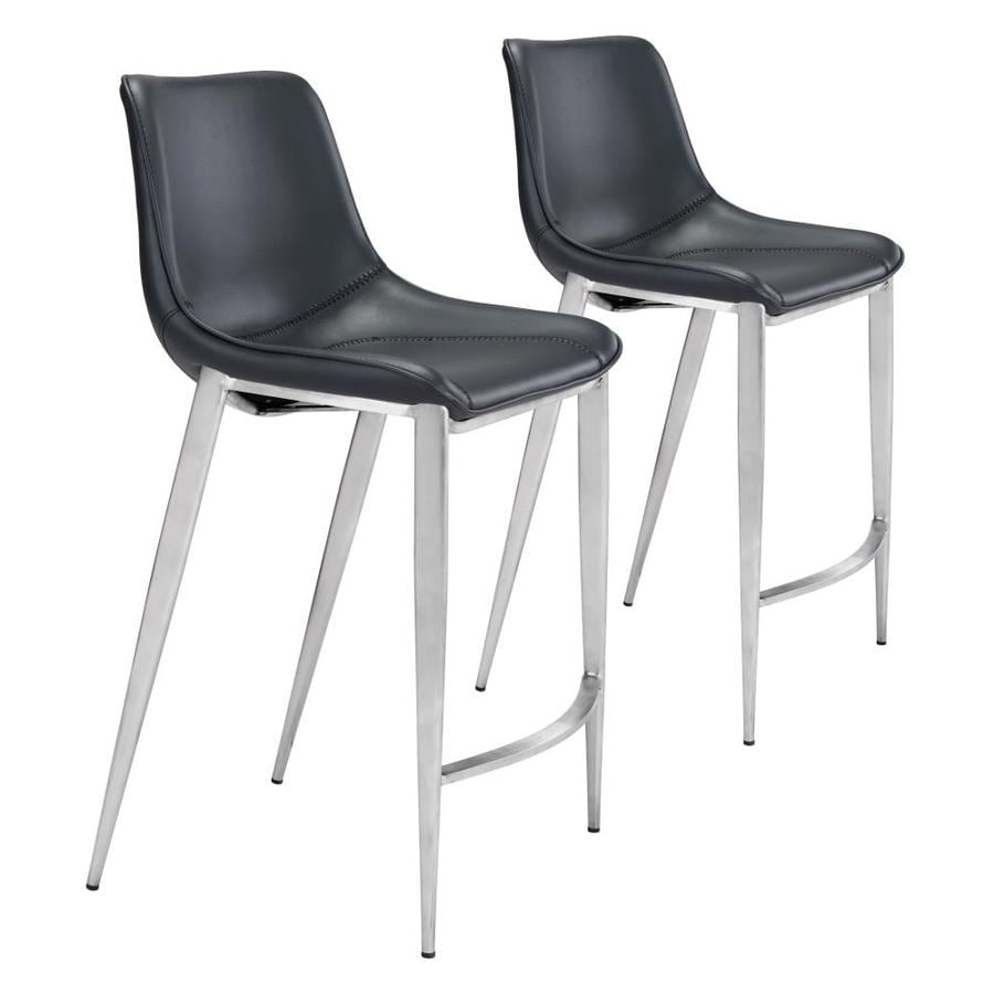 Zuo Modern Magnus Set Of 2 Black And Brushed Stainless Steel Counter Height Upholstered Bar Stool In The Bar Stools Department At Lowes Com