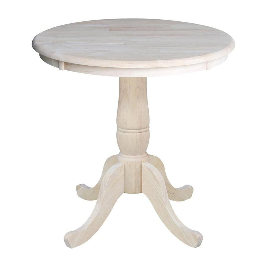 International Concepts Unfinished Round Dining Table, Wood with Unfinished  Wood Base