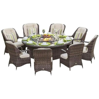 Direct Wicker Eton 9 Piece Brown Frame Patio Set With Beige Sunbrella Cushions In The Patio Dining Sets Department At Lowes Com