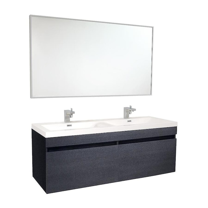 Fresca Senza 56.63-in Black Double Sink Bathroom Vanity ...