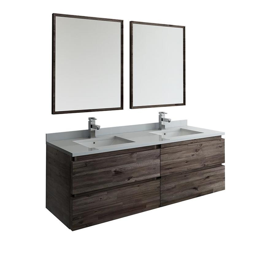 Fresca Stella 60 In Acacia Wood Undermount Double Sink Bathroom Vanity With White Quartz Top Mirror And Faucet Included In The Bathroom Vanities With Tops Department At Lowes Com