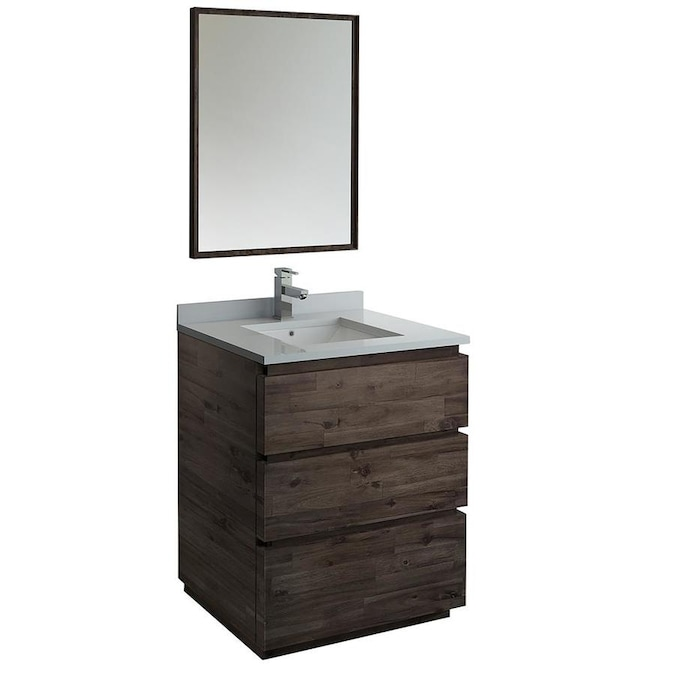 Fresca Stella 30 In Acacia Wood Undermount Single Sink Bathroom Vanity With White Quartz Top Mirror And Faucet Included In The Bathroom Vanities With Tops Department At Lowes Com