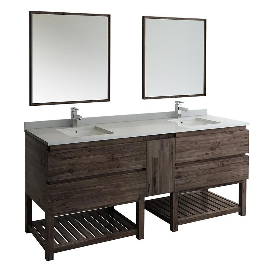 Fresca Stella 84 In Acacia Wood Undermount Double Sink Bathroom Vanity With White Quartz Top Mirror And Faucet Included In The Bathroom Vanities With Tops Department At Lowes Com