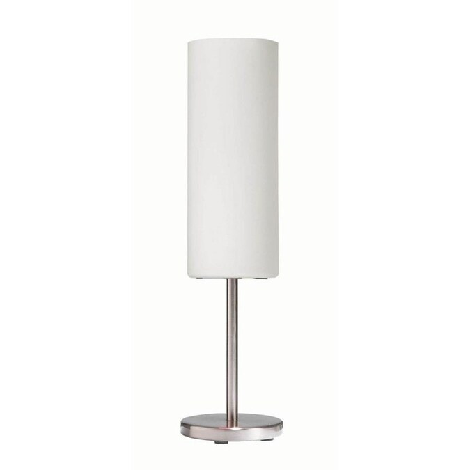 Dainolite 18 In Satin Chrome Stick Table Lamp With Glass Shade In The Table Lamps Department At Lowes Com