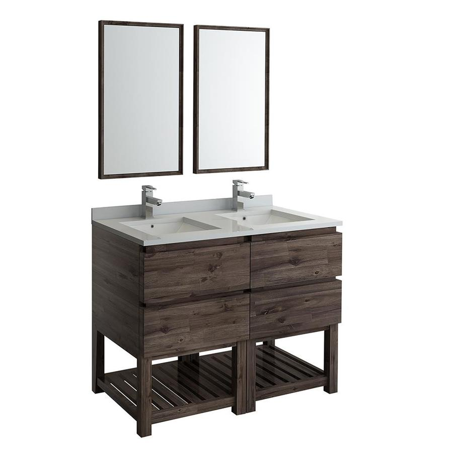 Fresca Stella 48 In Acacia Wood Undermount Double Sink Bathroom Vanity With White Quartz Top Mirror And Faucet Included In The Bathroom Vanities With Tops Department At Lowes Com