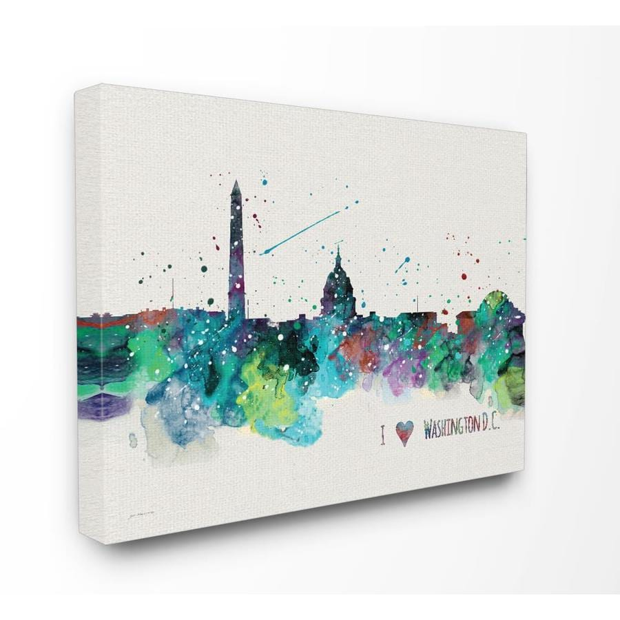 Stupell Industries I Heart Love Dc Paint Splatter Frameless 20 In H X 16 In W Places Canvas Print In The Wall Art Department At Lowes Com